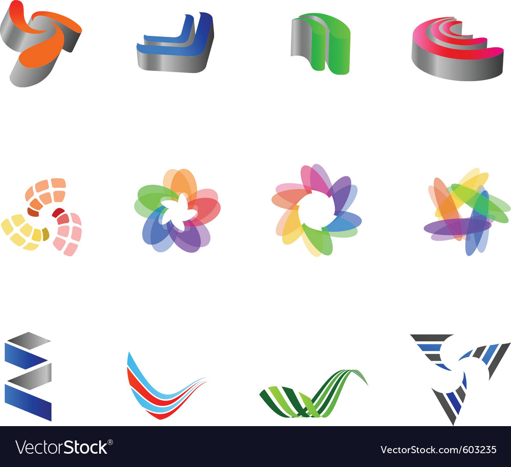 12 colorful symbols set 8 vector