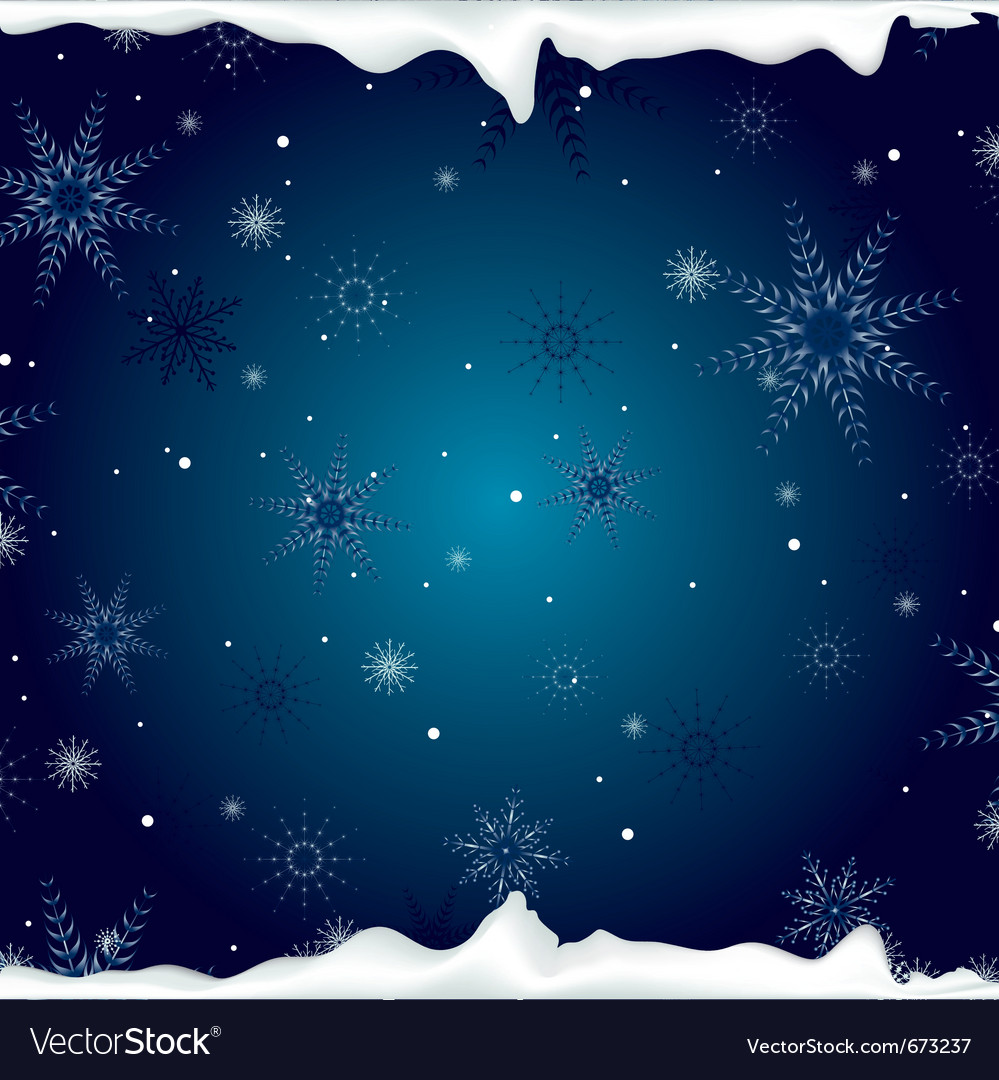 Christmas background with snowflakes and ice vector