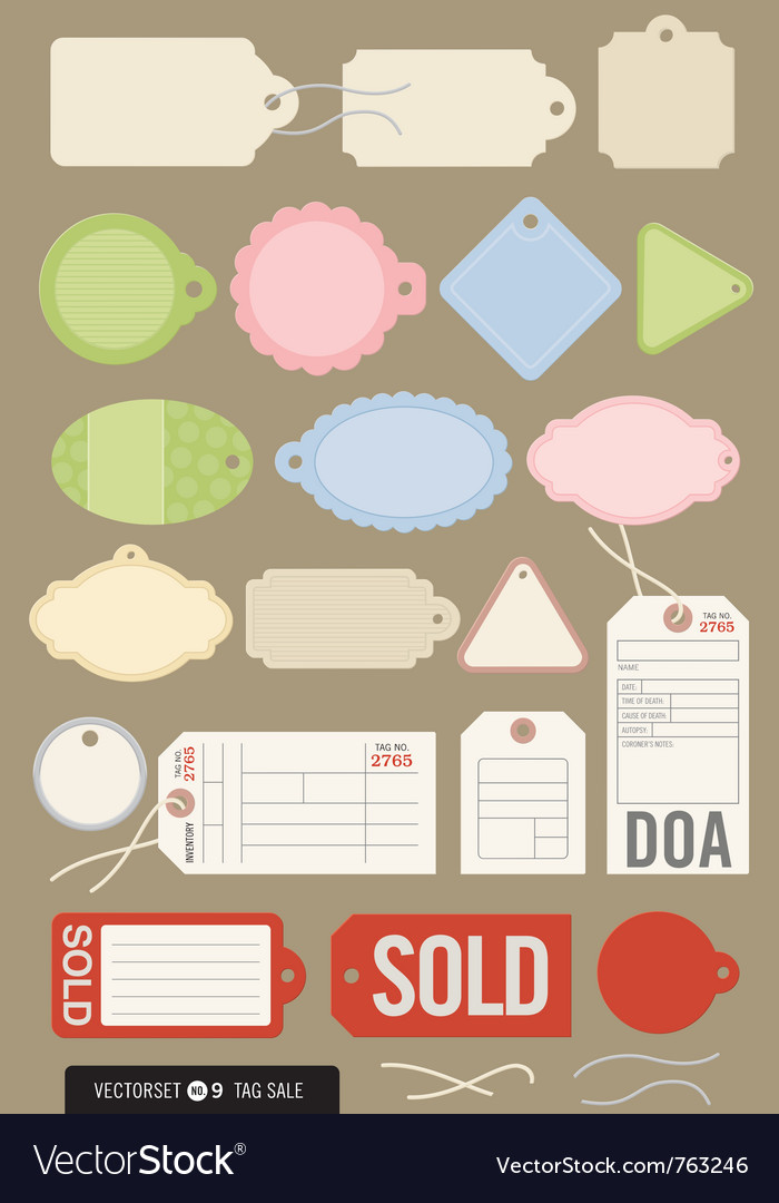 Set of 20 different tags vector