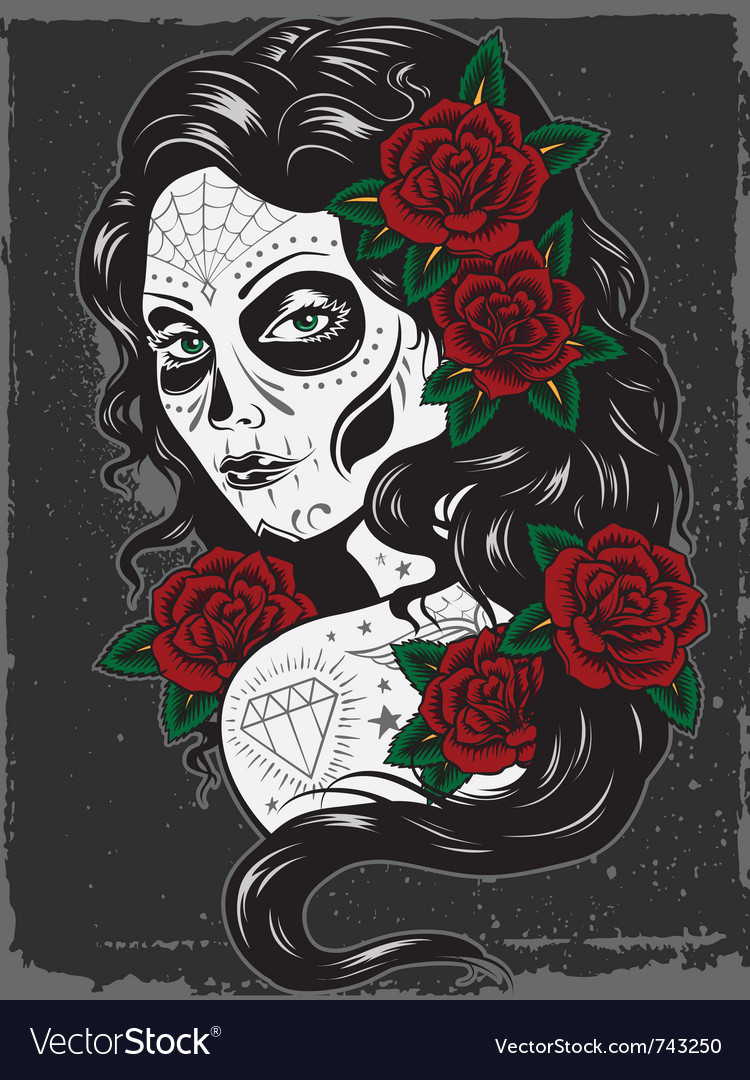 Day of dead girl vector