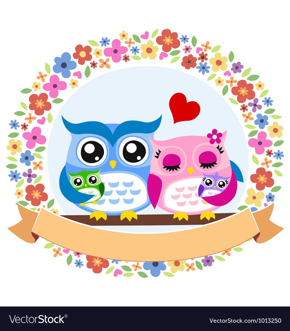 Owl floral ribbon emblem vector