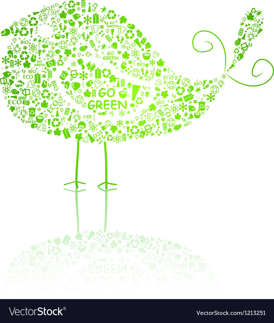 Bird silhouette composed of go green eco signs vector