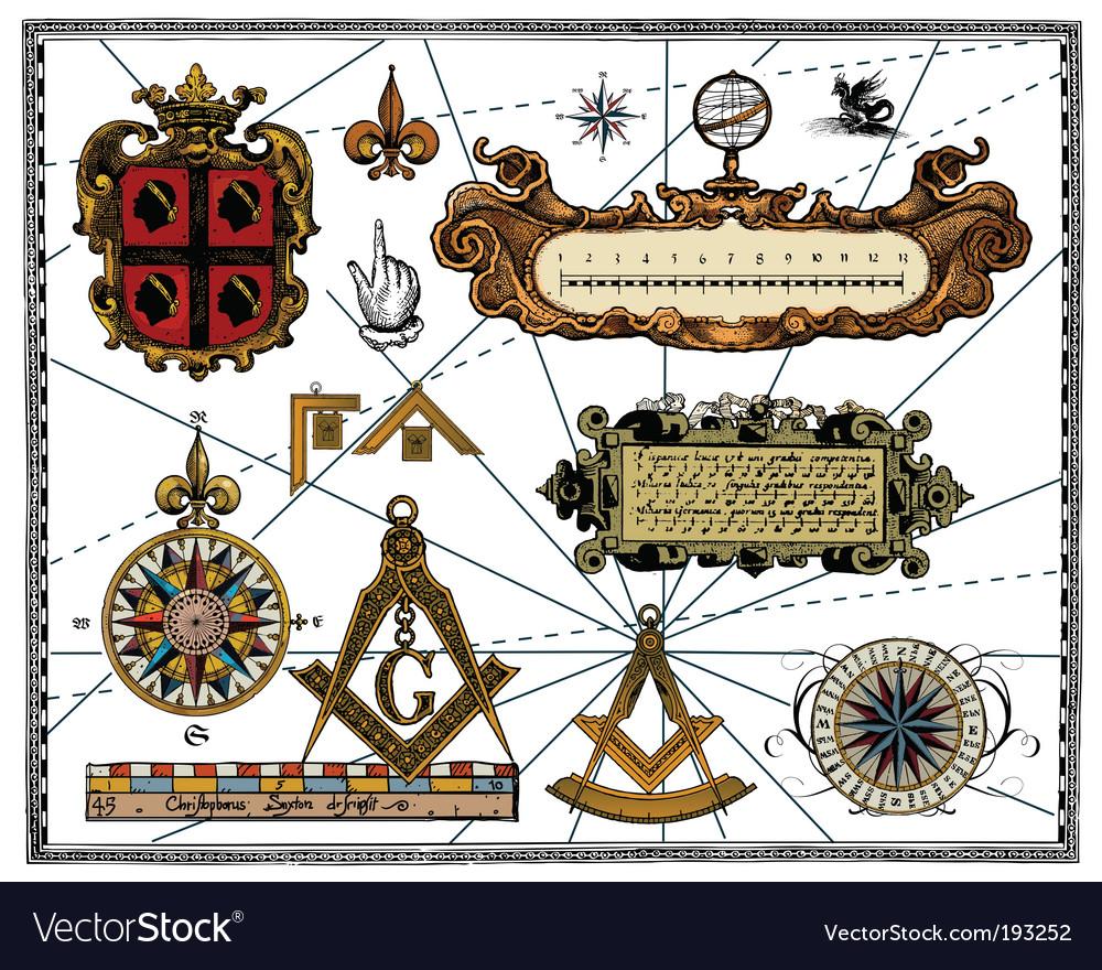 Antique map elements vector