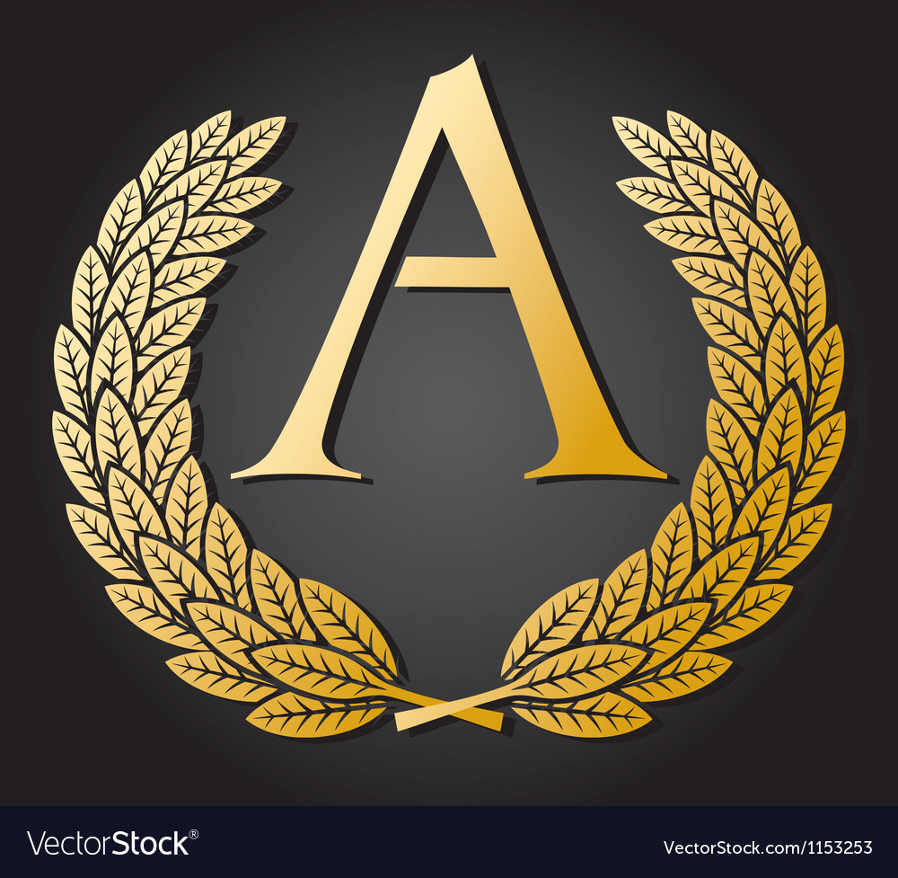 Letter a and gold laurel wreath gold letter a vector