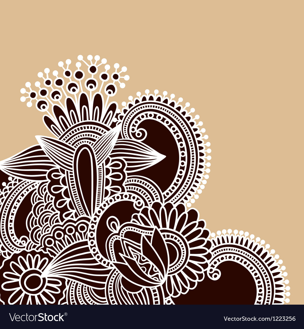 Hand-drawn abstract henna doodle design element vector