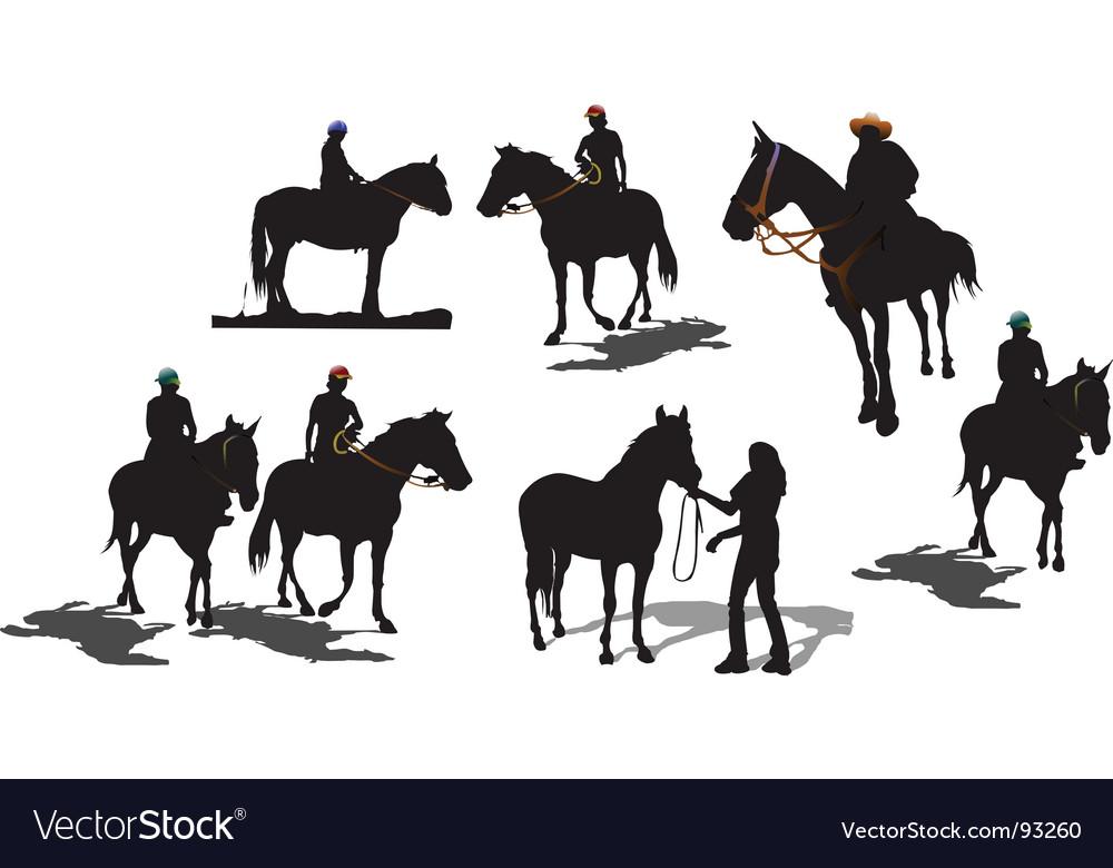 Seven horse silhouettes vector