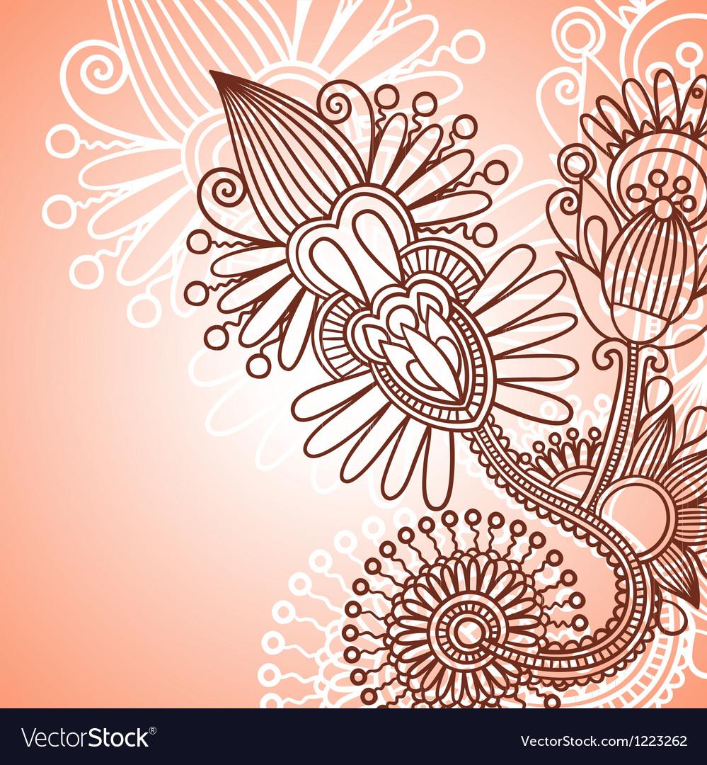 Henna doodle floral pattern vector