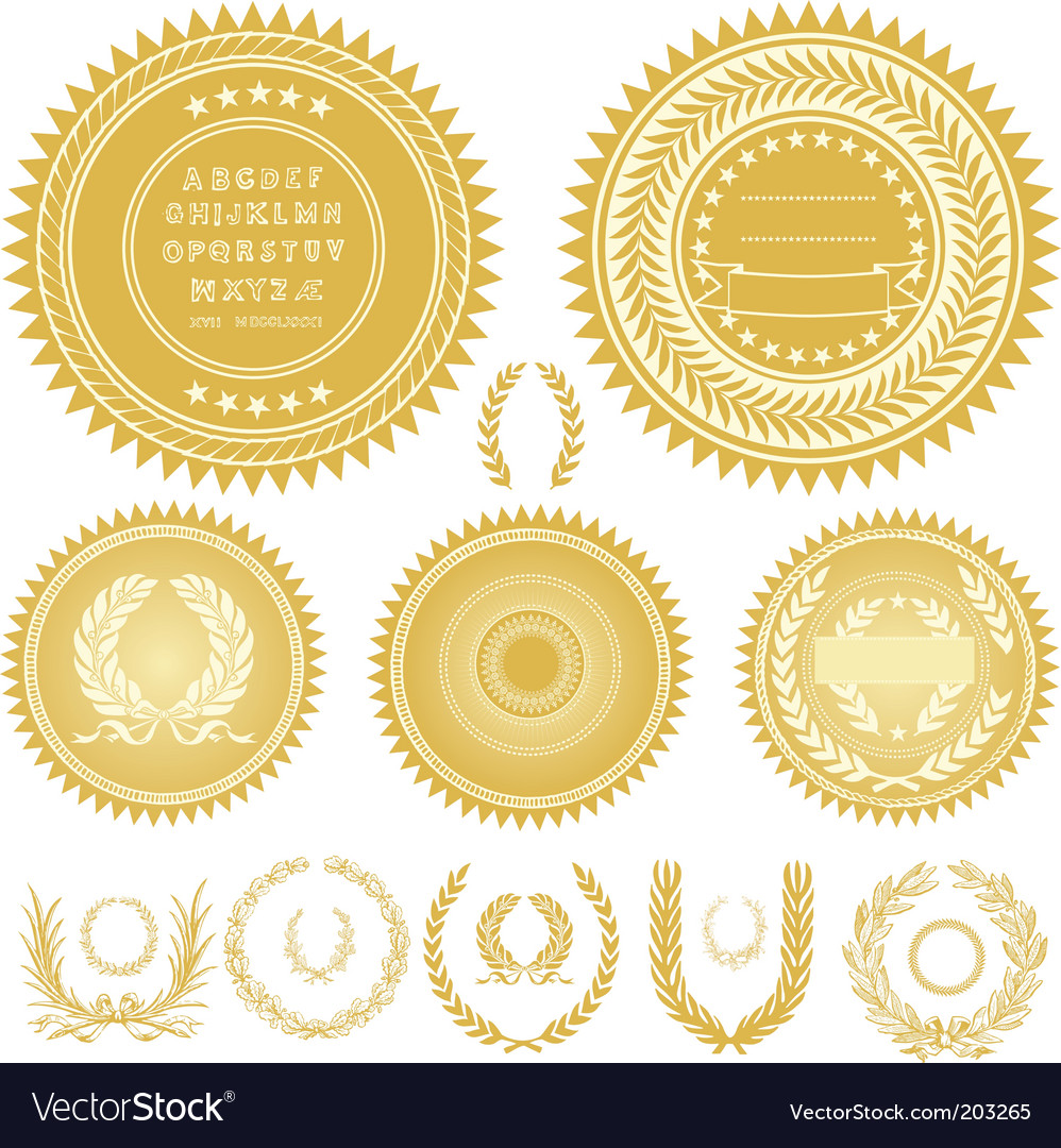 Seals and wreaths vector