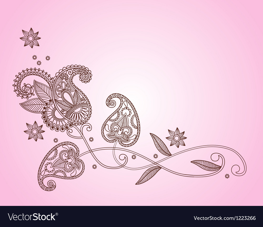 Henna mendi floral pattern vector
