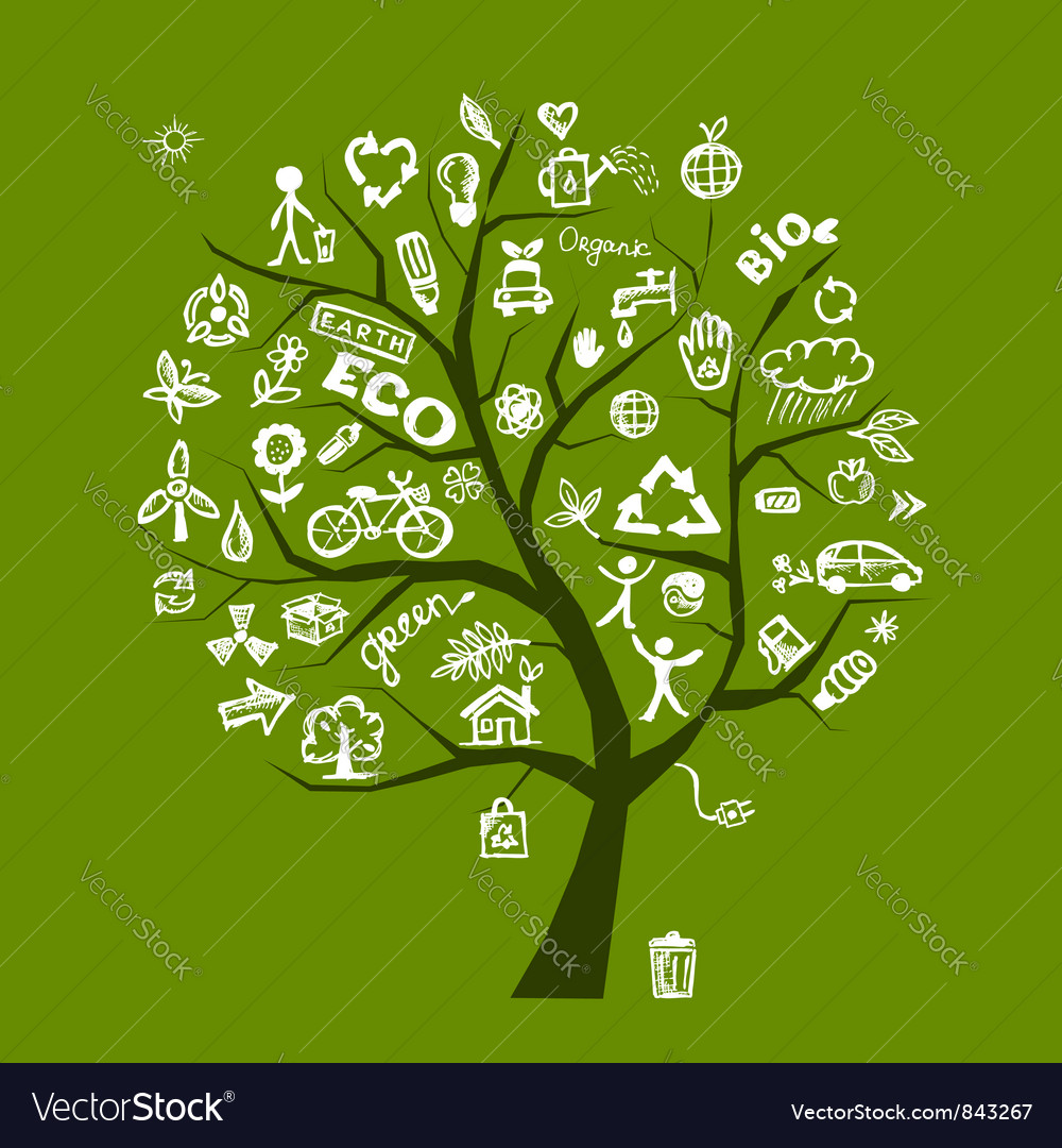 Green ecology tree vector
