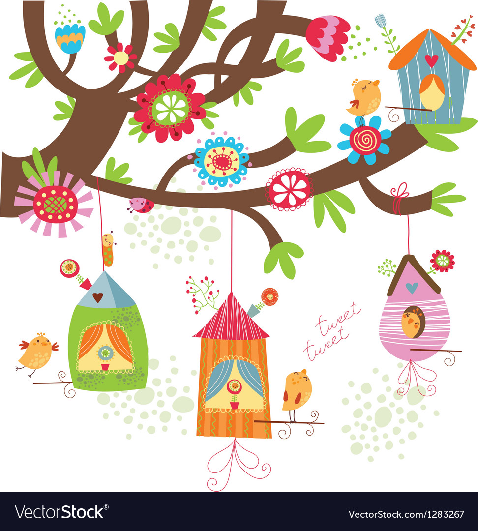 Spring background with birds nests vector