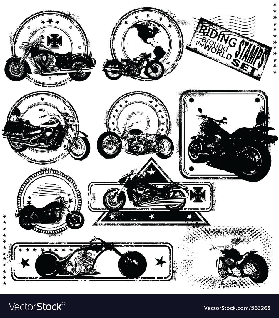 Motorbike stamps set vector