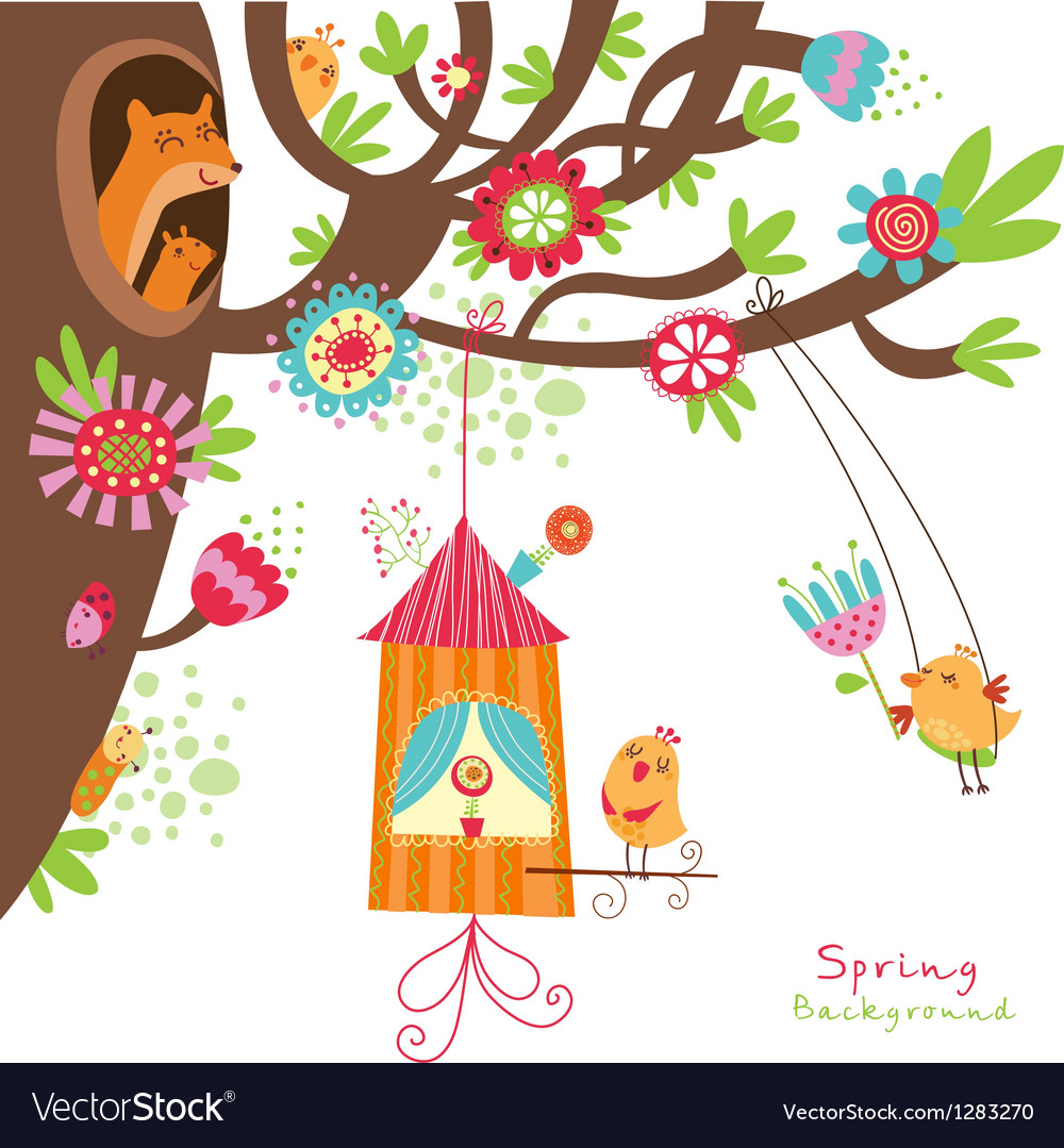 Spring floral card with birds vector