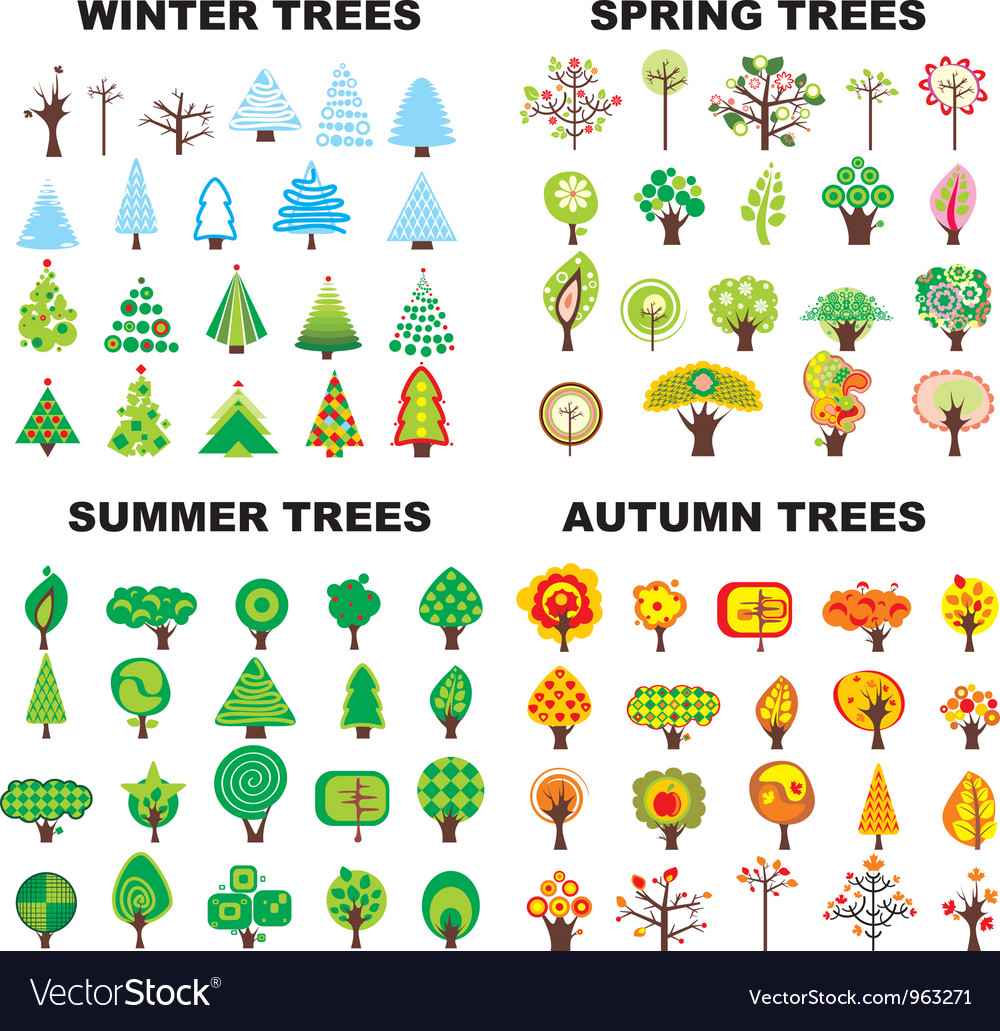 Tree season set vector