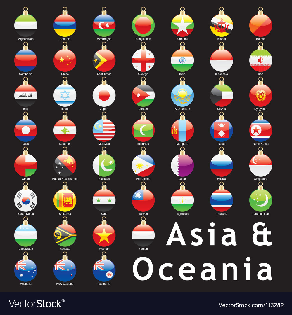 Christmas bulbs asia flags vector