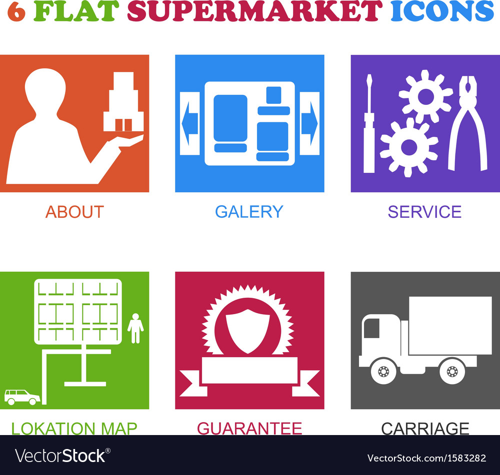 Flat supermarket icons vector
