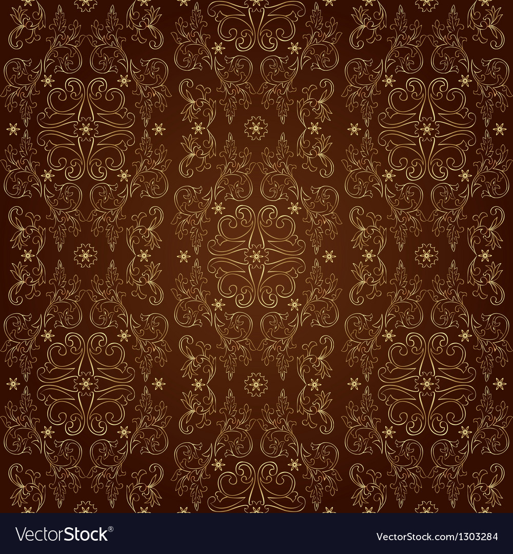 Floral vintage seamless pattern on brown vector