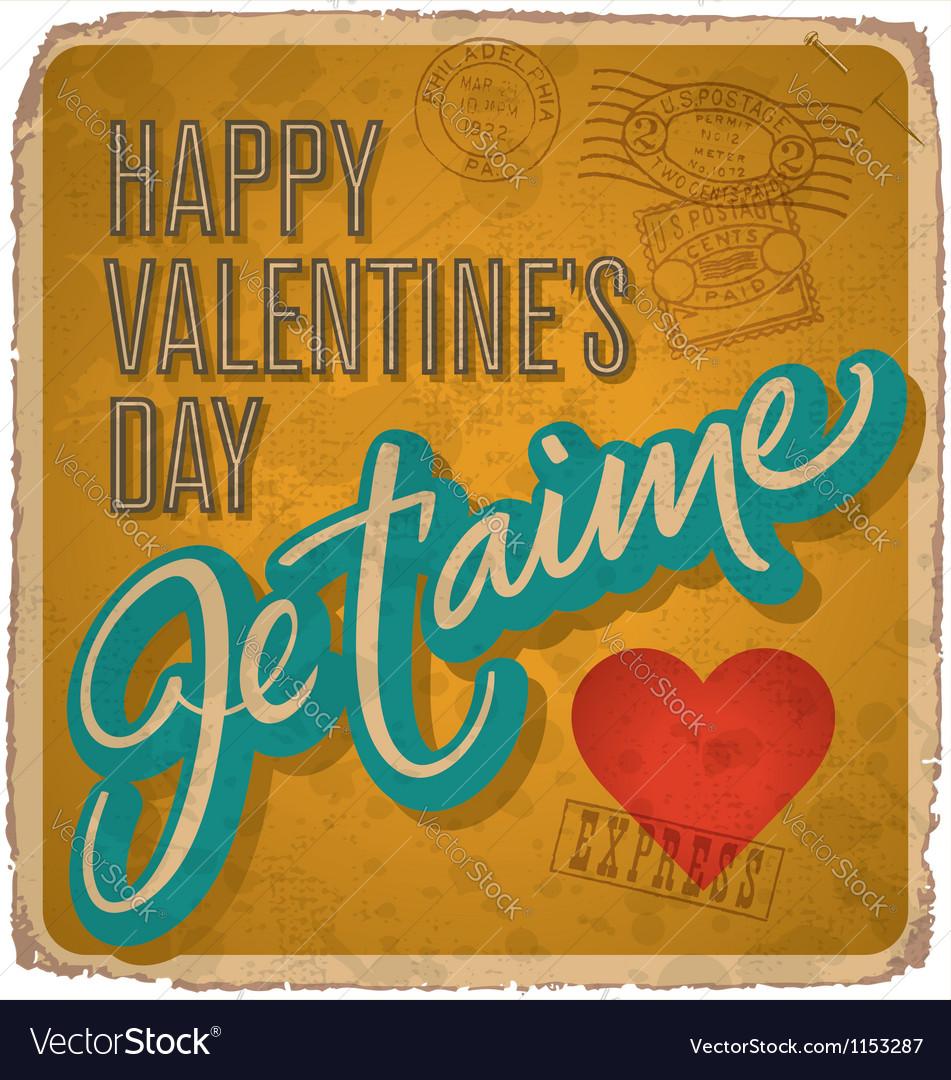 Handlettered vintage valentines card vector