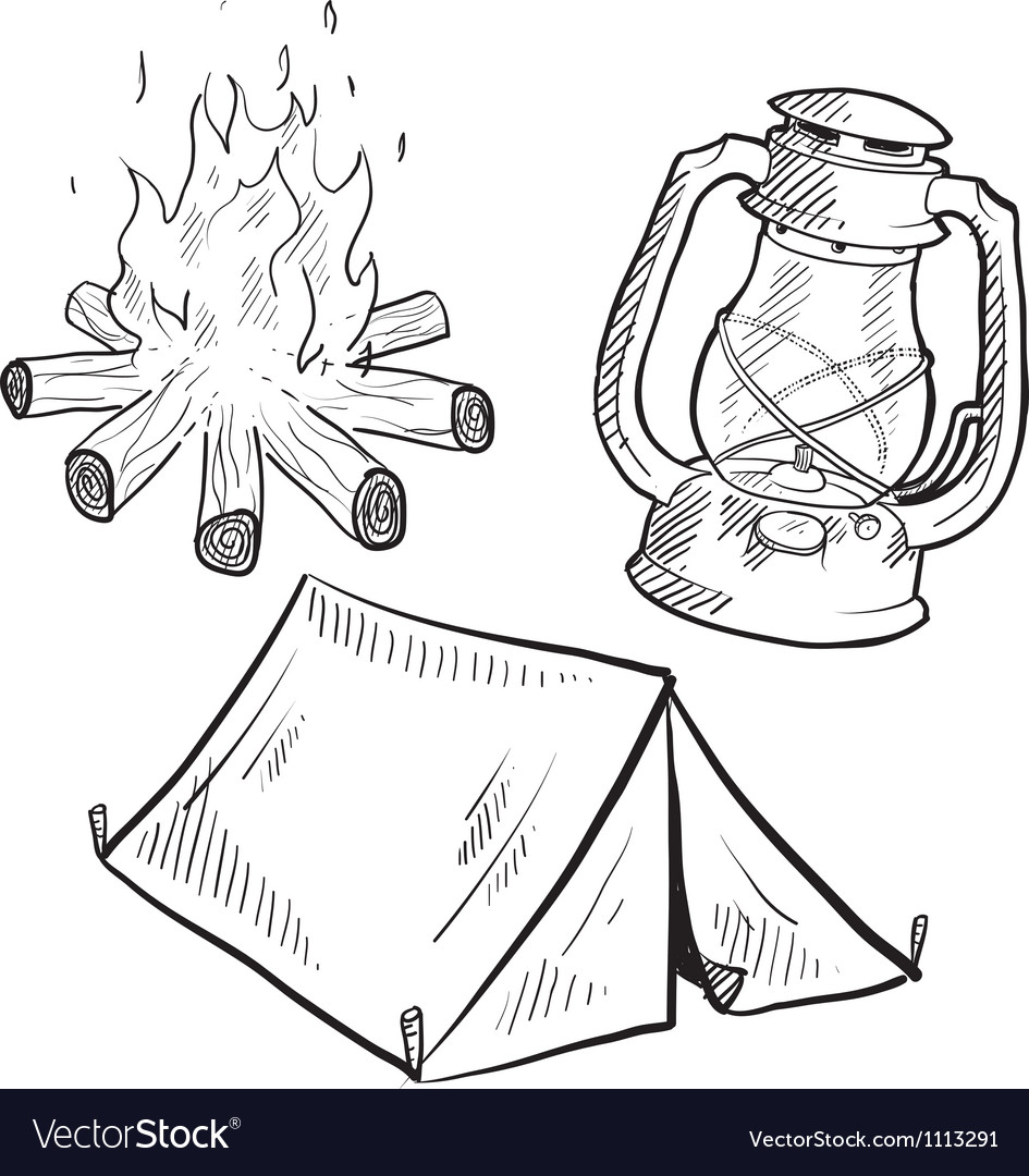 Doodle camping tent fire lantern vector