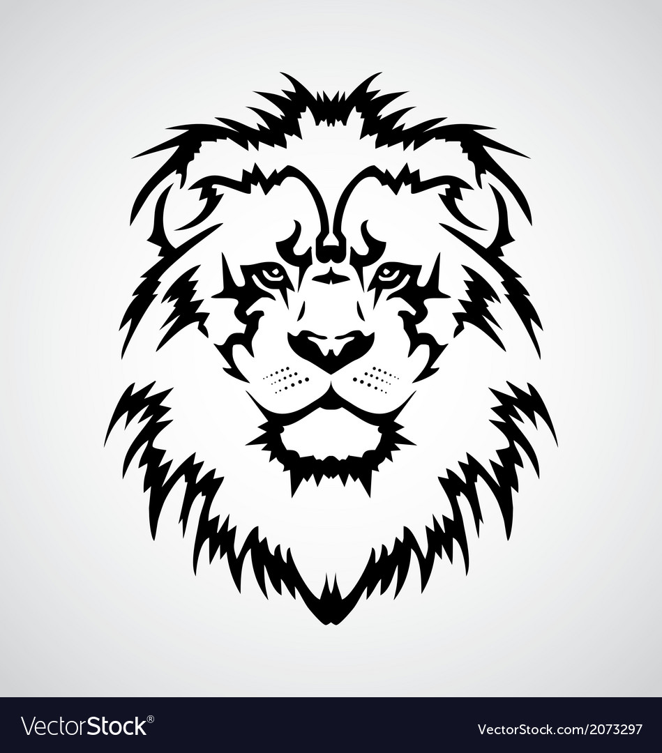 Lion Face Drawing Tribal Lion face tribal vector