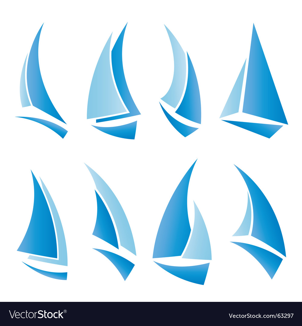 Sailboat icons vector