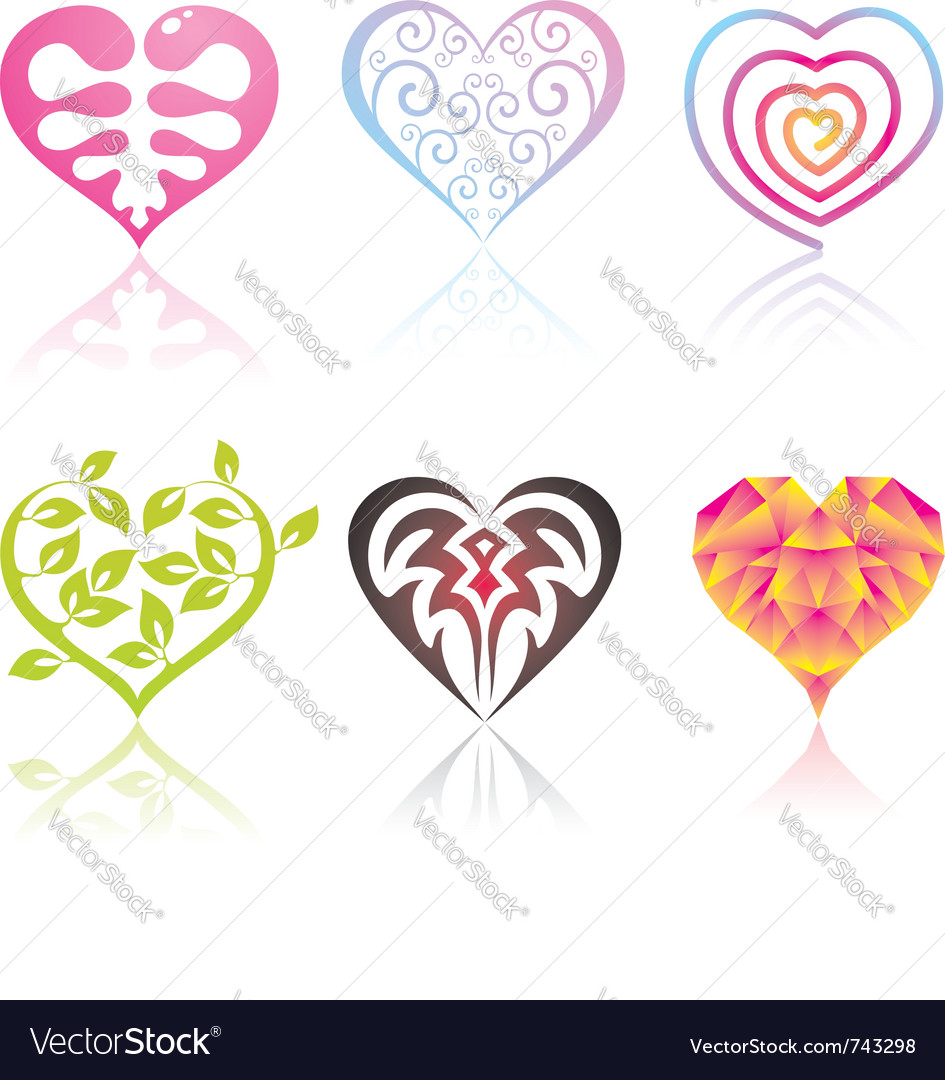 Set of icons hearts vector