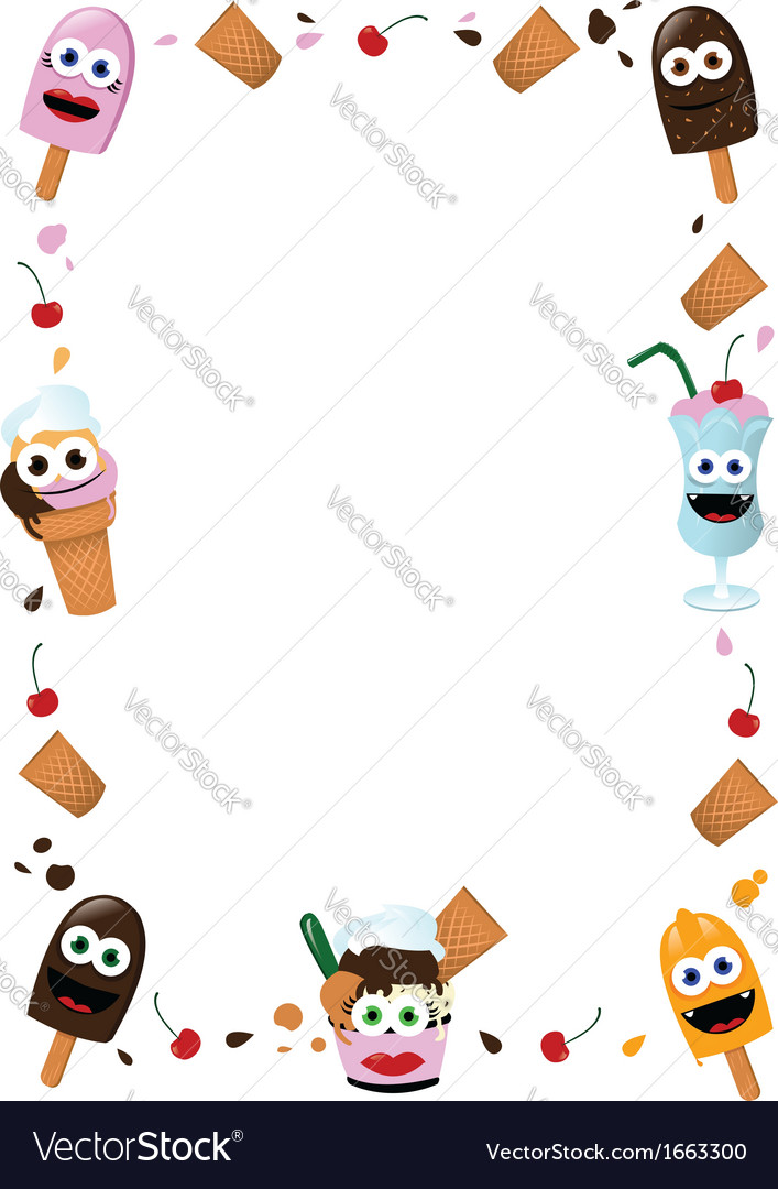 funny ice cream frame vector by pcanzo image 1663300 vectorstock