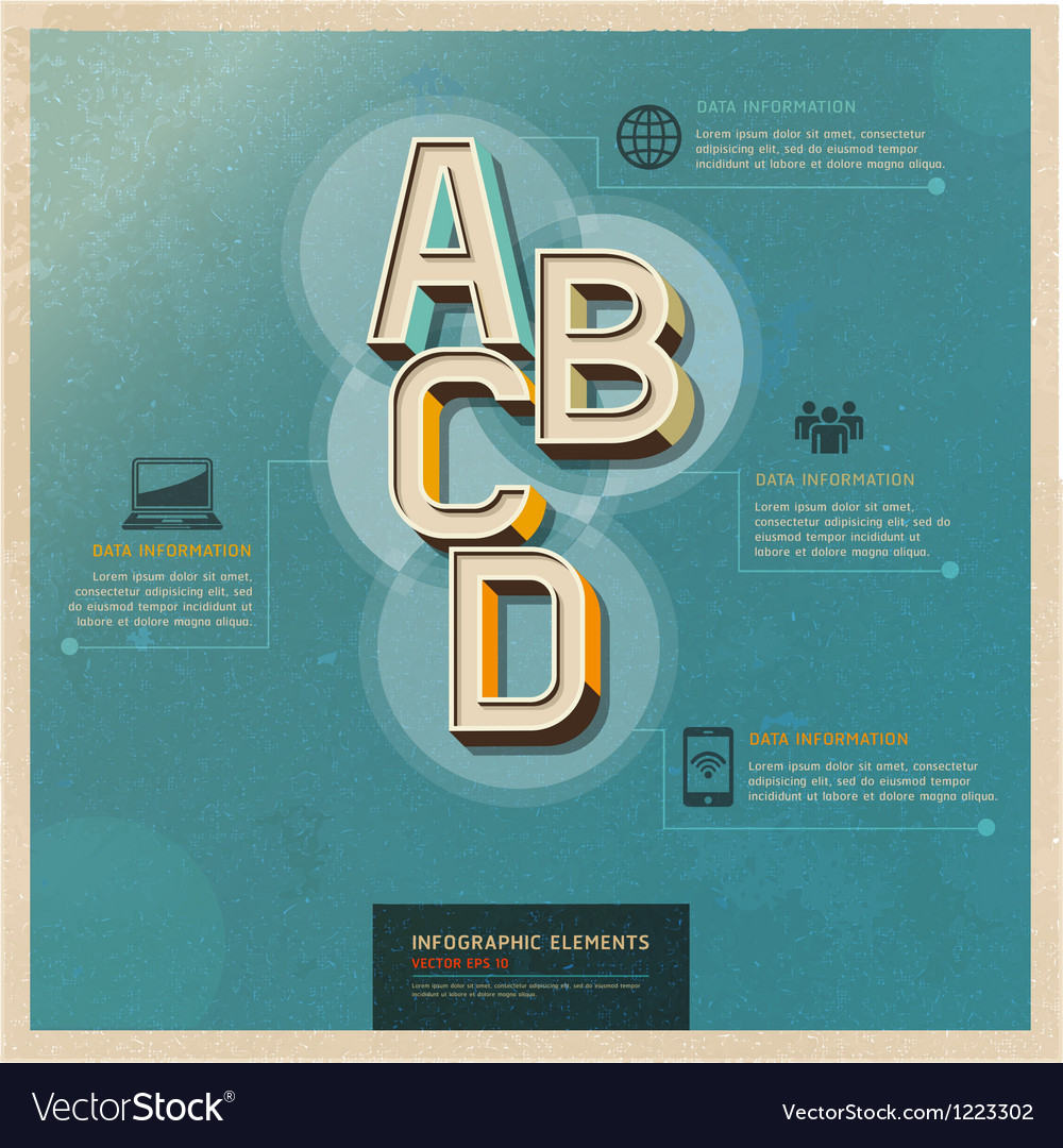 Technology infographics elements retro color vector