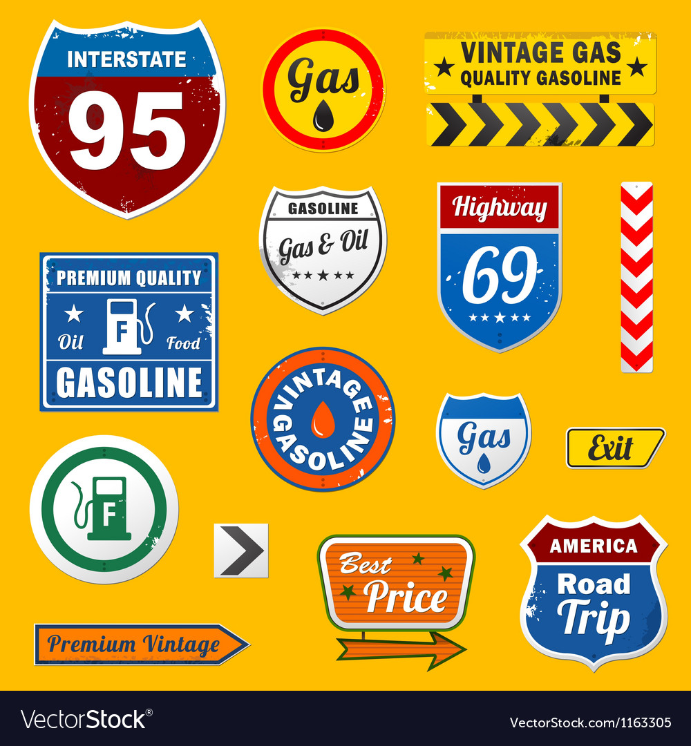 Set of vintage retro gasoline signs and labels vector