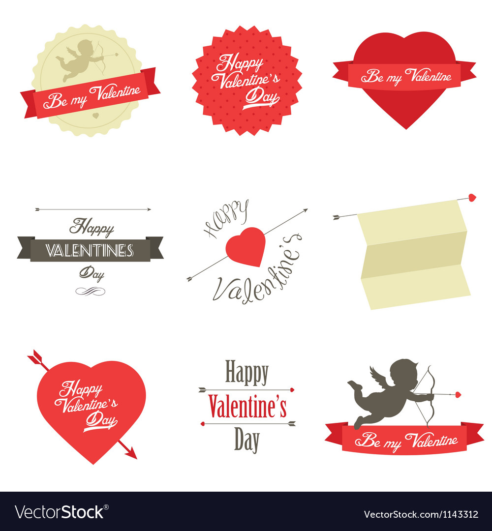 Set of valentine s day red labels and badges vector