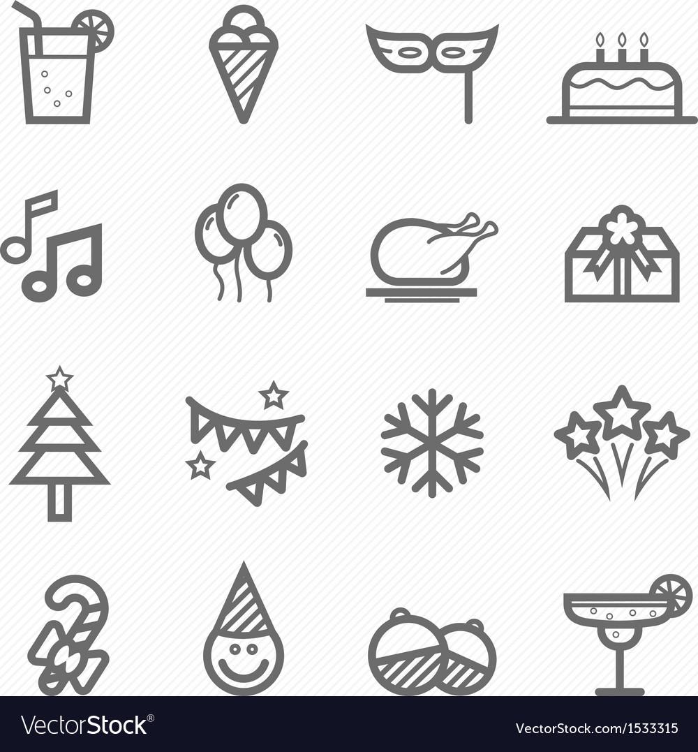 Party symbol line icon set vector
