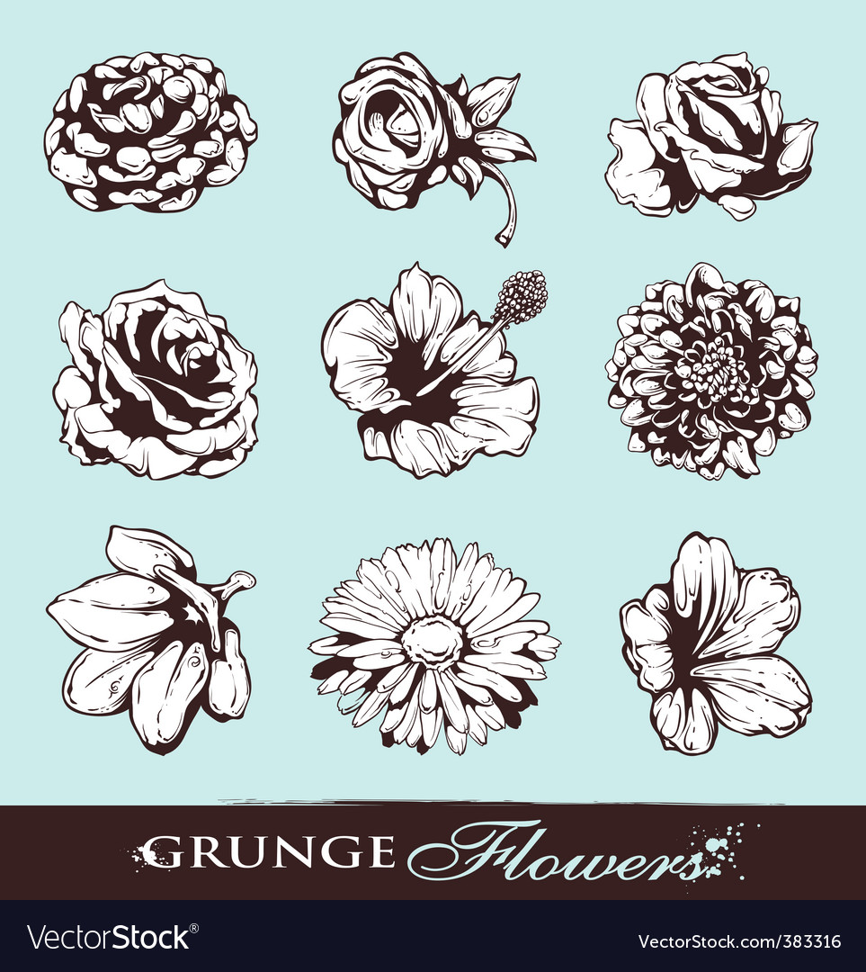 Set of grungy flowers vector