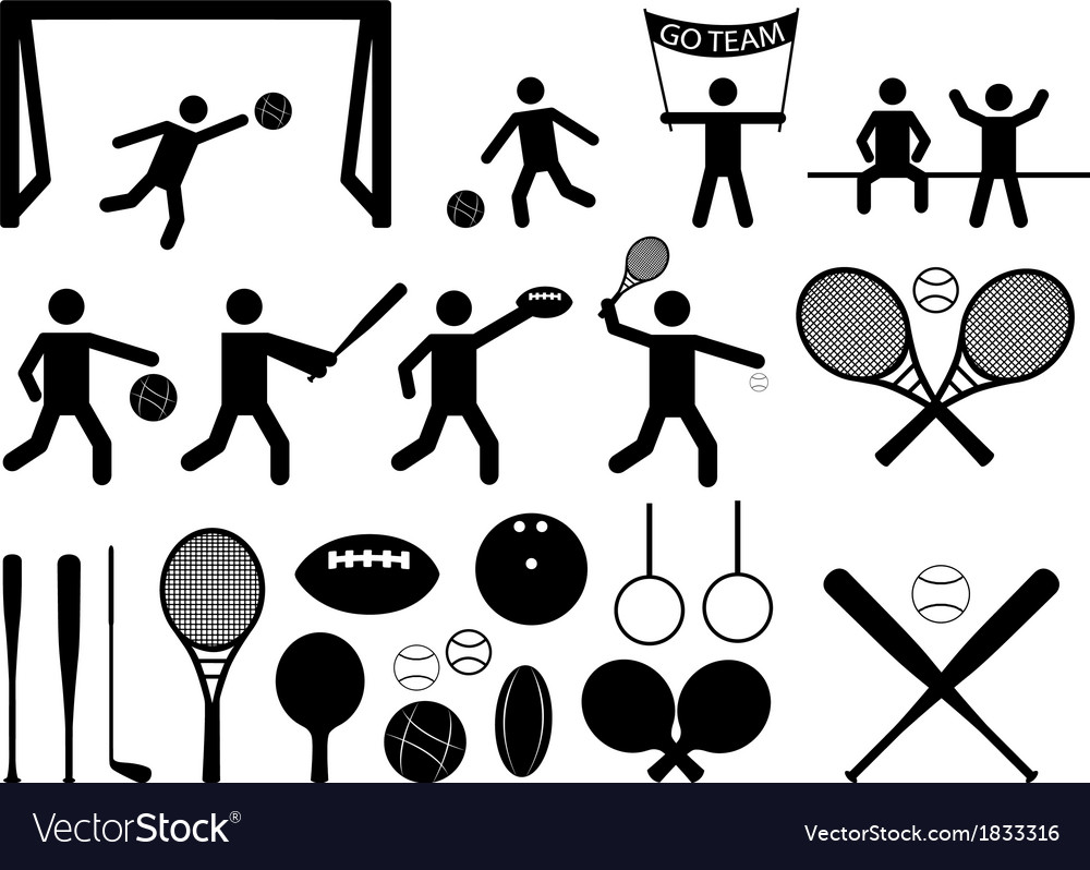Sport pictogram people and objects vector