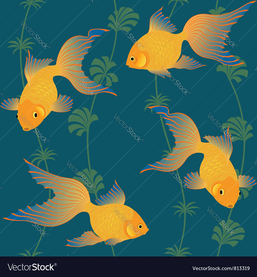 Gold fish seamless pattern vector