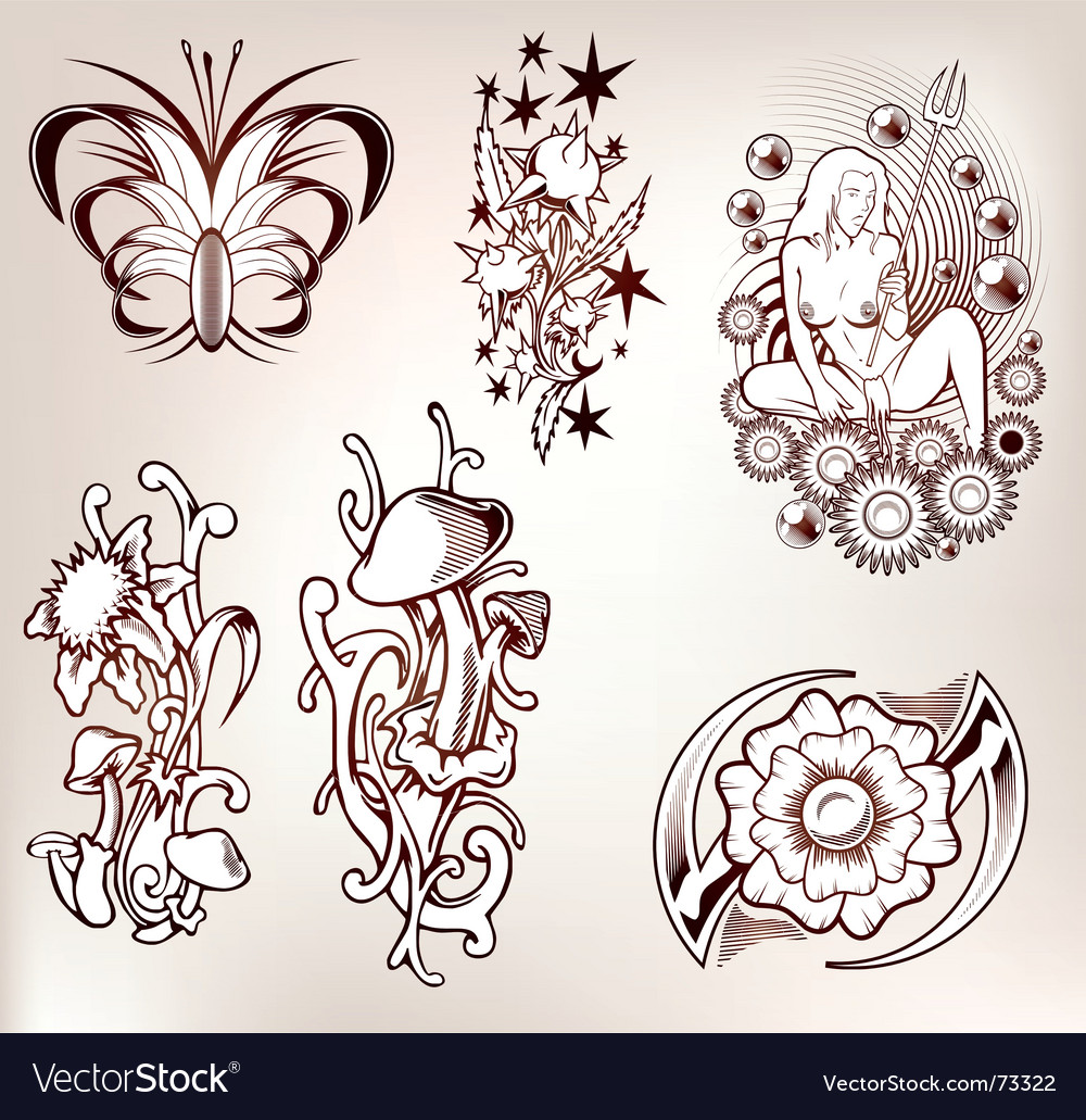 Set of tattoo vector