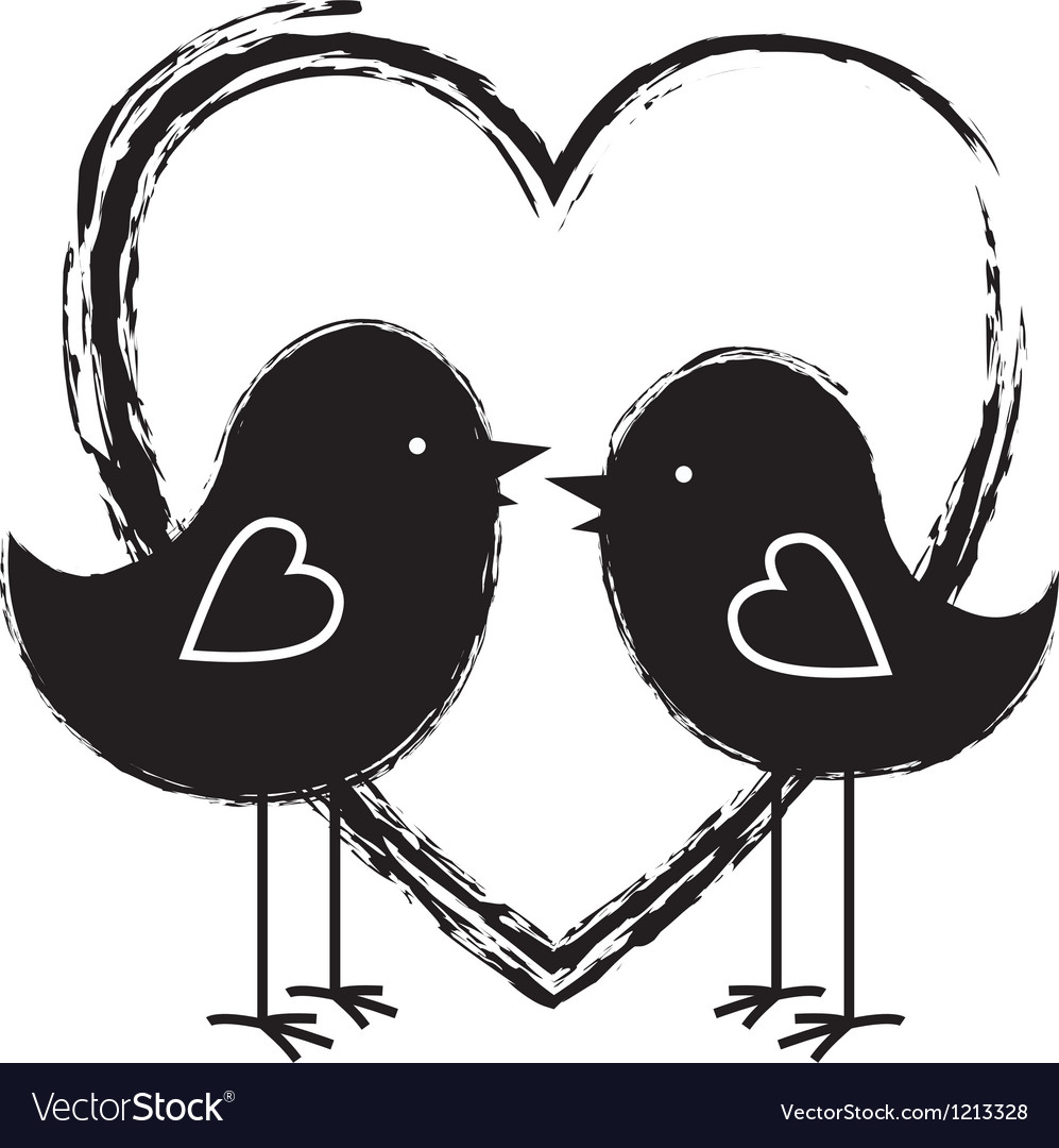 Two birds in the heart vector