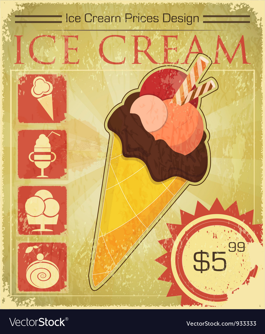 Design ice cream price vector