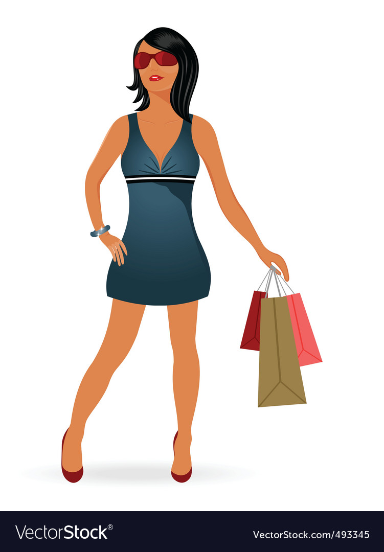 Fashion shopping girl with bag vector