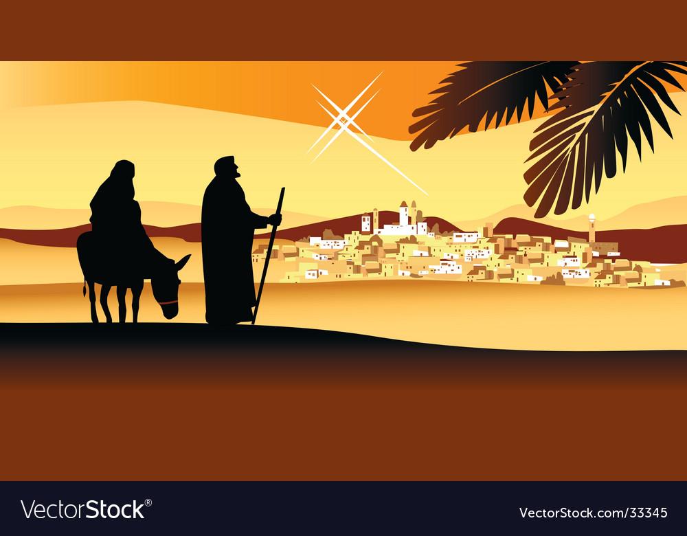 Holy night way to bethlehem vector