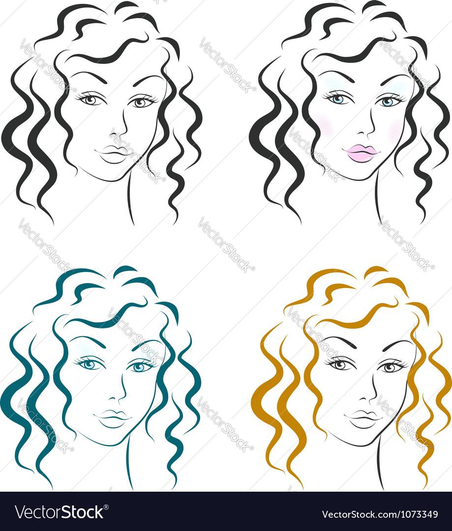 Beautiful woman face design set vector