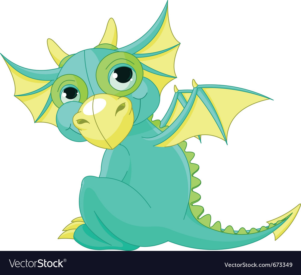 Cartoon baby dragon vector