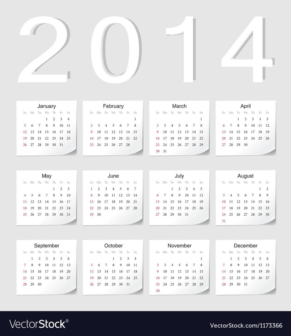 European 2014 calendar vector