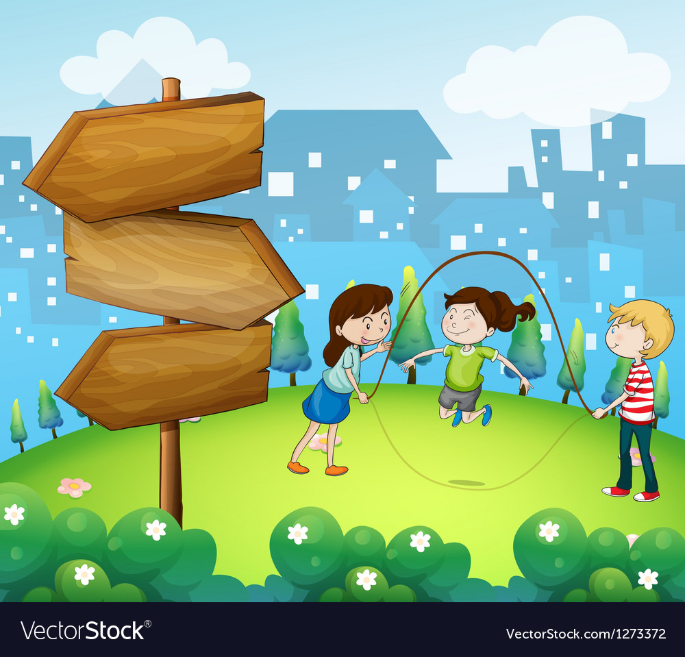 Three kids playing in the garden with wooden vector