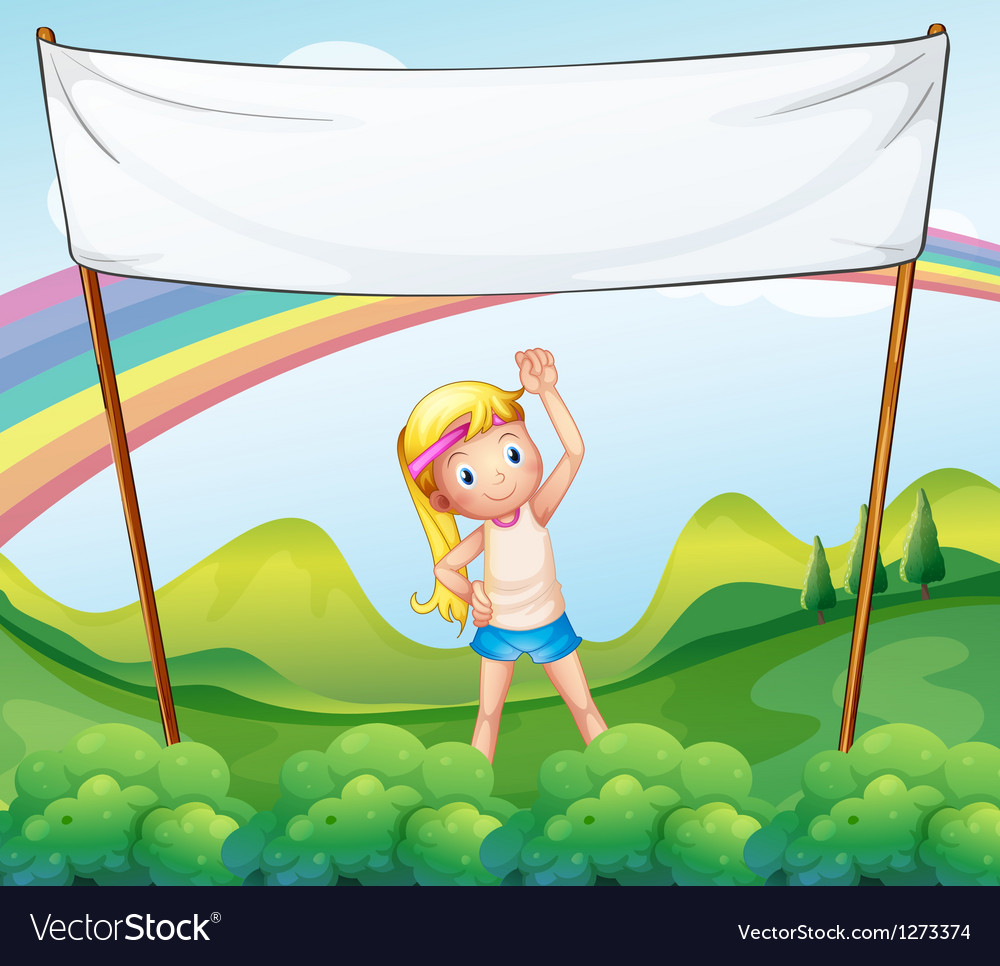 A girl exercising in front of the empty banner vector