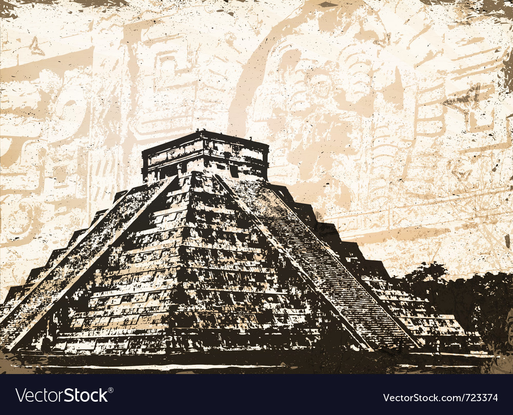 Antique mayan pyramid vector