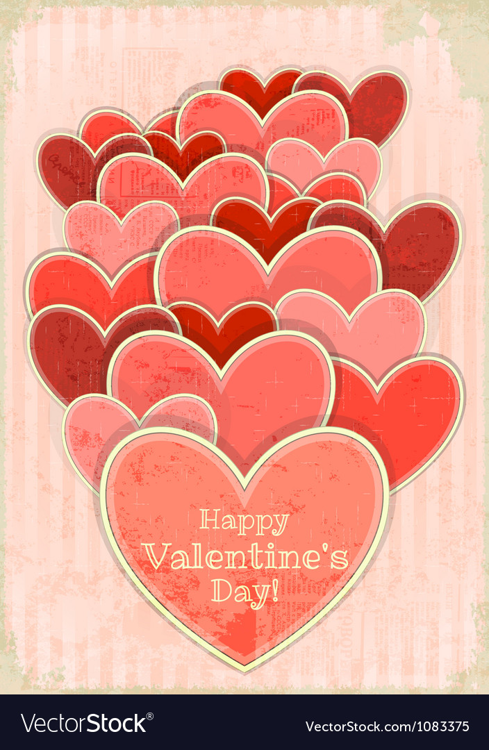 Retro valentines day card with hearts vector