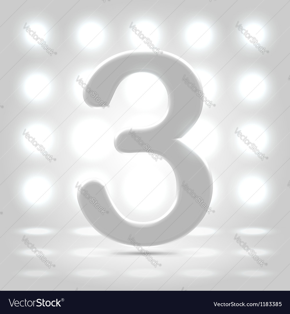 3 over back lit background vector
