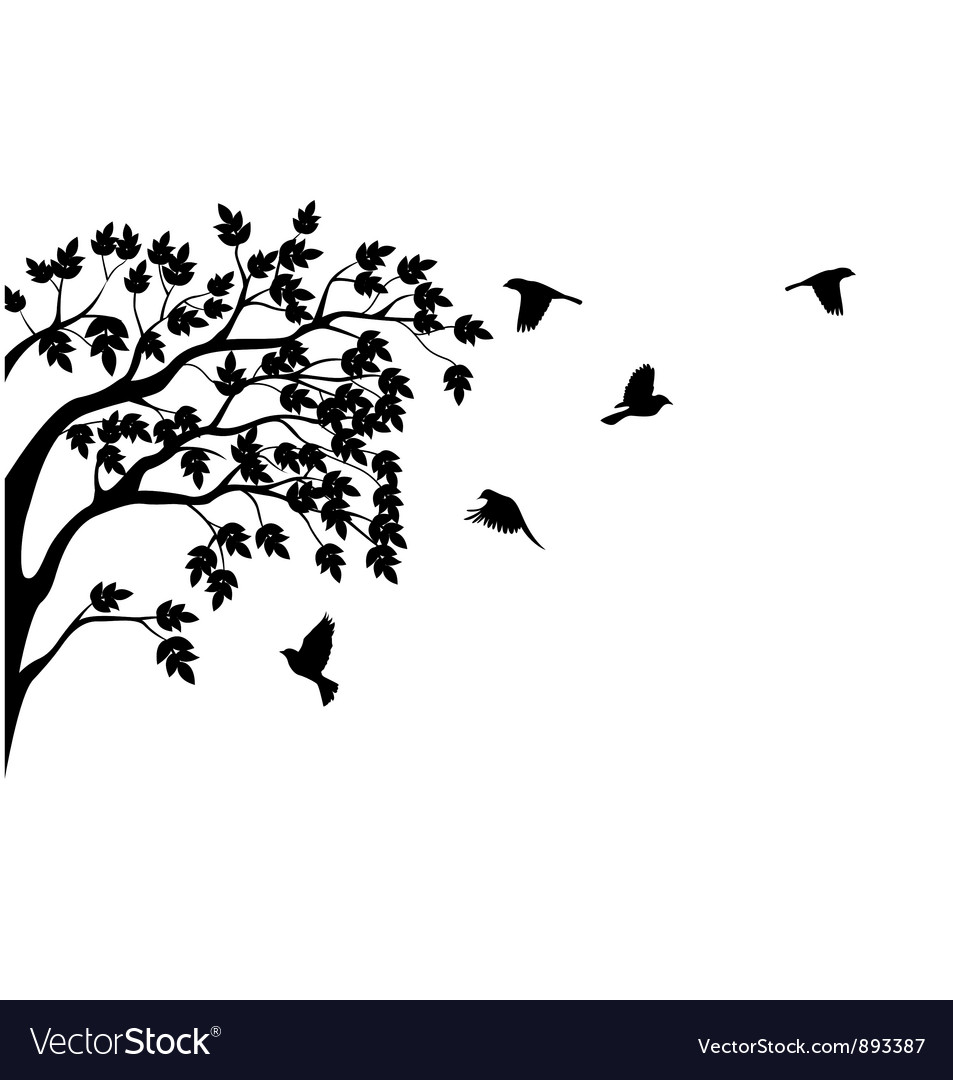 Silhouette of tree and bird isolated vector