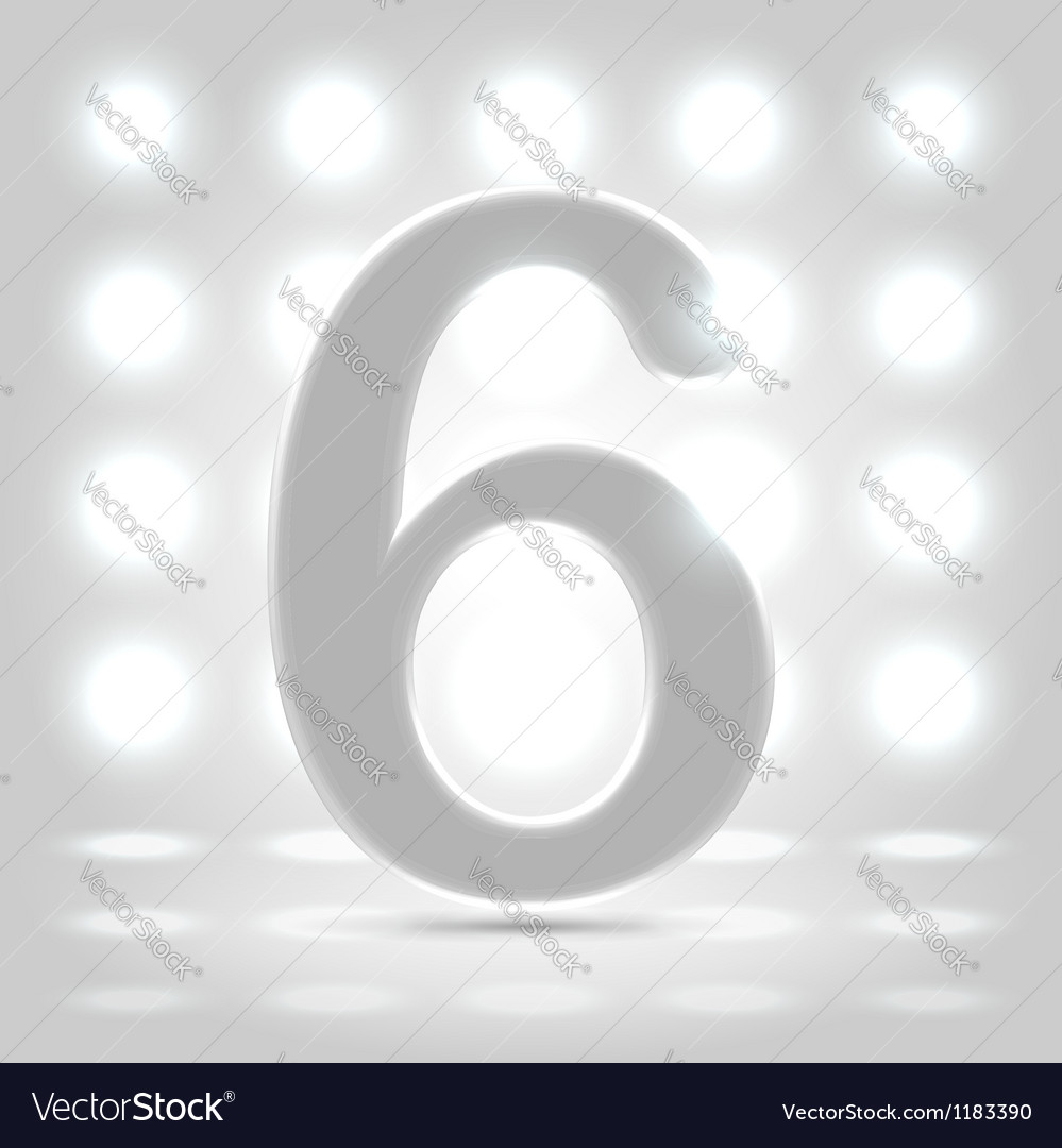 6 over back lit background vector