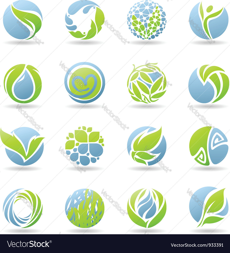 Drops and leaves  logo template set vector